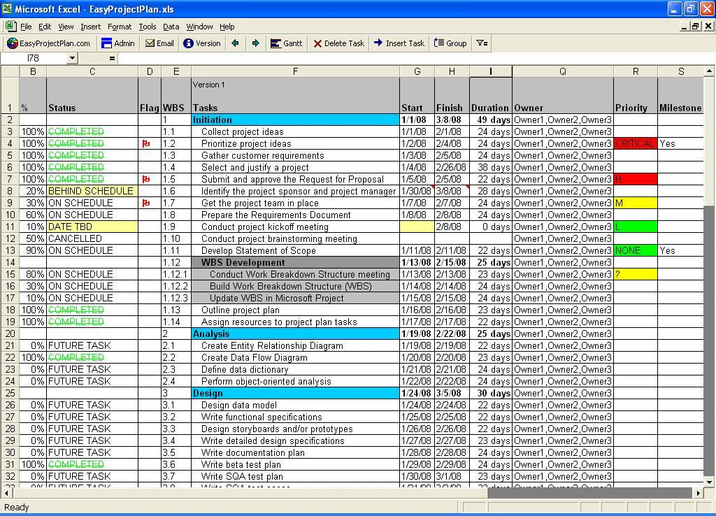 EasyProjectPlan | Excel Gantt Chart Screen shot