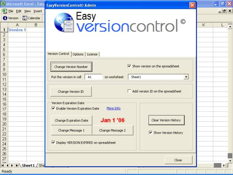 Click to view EasyVersionControl-Excel Version Control 9.1 screenshot